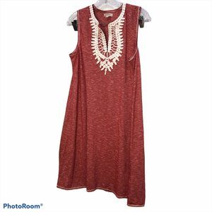 Max Studio red marl broderie anglaise tunic dress
